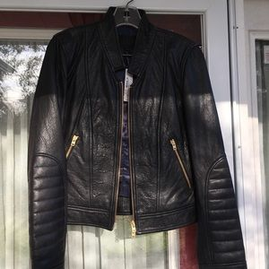 Jcrew collection black stand collar leather jacket